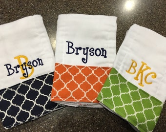 Personalized burp cloths for boys--set of 3