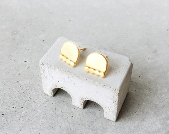 Cairn Studs / 14k gold vermeil / medium post earrings / modern architectural jewelry