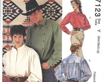 McCall's 7123 Misses & Men's Western Shirt Pattern, Rodeo, Cowboy, Cowgirl pattern, S-M-L, Uncut