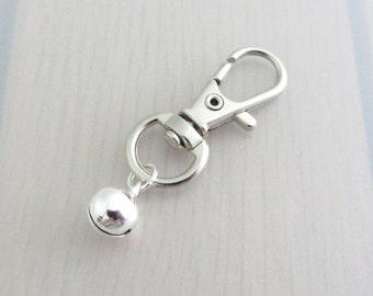 Silver Bell Charm Purse Clip, Bell Zipper Pull, Bell Handbag Charm, Bell Bag Charm, Musical Bag Charm