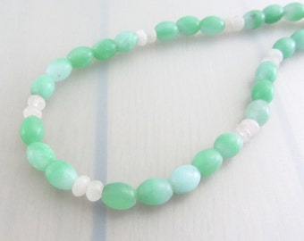 Sales Clearance, Green Amazonite Sterling Silver Necklace, Pink Rose Quartz Sterling Necklace, Pink And Green Beaded Gemstone Necklace