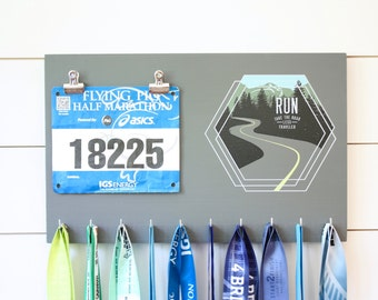 Running Medal Bib Holder Run Take the Road Less Traveled - Medal Holder, Medal Rack, Medal Display, Race Bib Display, Race Bib Holder
