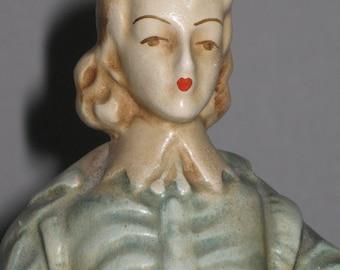 Vintage Chalk Ware Victorian Man in Blue