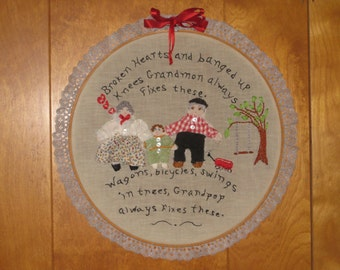 Vintage Embroidered Grandma and Grandpa Poem, Hoop Art, Grandparents Day, Embroidery Hoops, 3D Picture