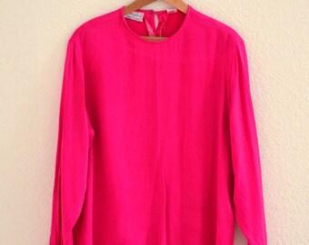 Vintage Silk Shirt Pink Fuchsia Vintage Magenta Pink Silk Shirt Size Large