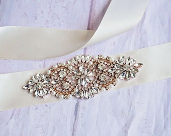 Gold Rhinestone Bridal Belt...Ivory Bridal Sash..Gold Flower Sash / Belt Flower Girl Sash..Gray Bridal Belt/ Gray Sash..Maternity Sash