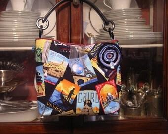 Travel Bag/Foreign Posters Bag/Bon Voyage Handbag