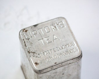 Vintage Lipton's Tea Tin, Square Tea Tin