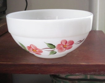 Vintage Fire King Peach Blossom Colonial Band Hand Painted Cereal  Bowl Small Mixing Bowl Dessert Bowl