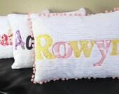 Personalized Name Pillow with Pom Pom Trim 12 x 16