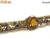 FALL SALE, Victorian Citrine Stone Brooch - Etruscan Style Pin - Antique Jewelry - Etruscan Jewelry