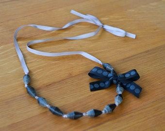 Charcoal grey and black paper bead necklace on satin ribbon