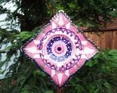 Repurposed Glass Garden Art - hand painted Purple, Pink & Magenta Glass Flower Suncatcher Garden Art - Glass Plate Flower