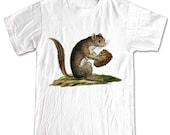 Squirrel with Pine Cone Forest Animals T-shirt Women Men Children Small, Medium, Large, XL