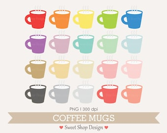 Coffee Clip Art, Coffee Cup Clipart, Digital Clip Art, Coffee Mugs, Instant Download