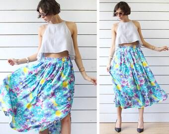 Vintage blue floral aquarelle print viscose full sweep high waist ankle midi skirt L XL