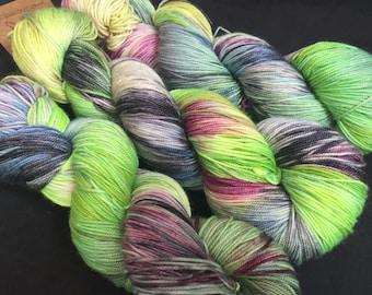 Zombie Nation  hand dyed luxury sock yarn