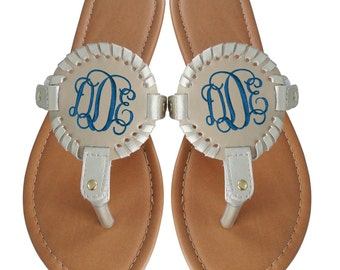 Monogram SANDALS, Medallion Flip Flops, Monogram Sandals, Monogram Flip Flops, Personalized Sandals, Monogrammed Sandals, Medallion
