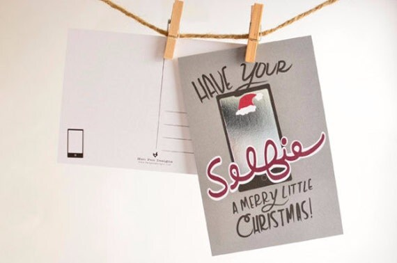 Christmas Postcards / Christmas Postcard Set / Holiday Card Set / Card Sets / Have Your Selfie A Merry Christmas Holiday Postcard Pack