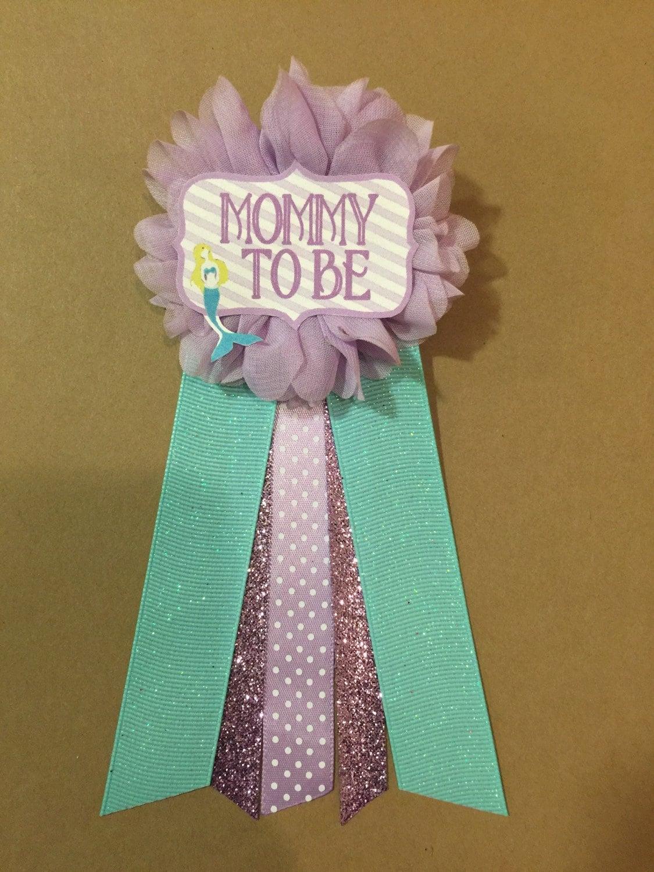 purple baby mermaid baby shower pin mommy to be pin ribbon pin