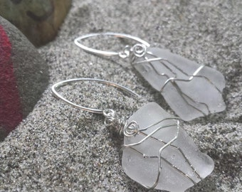 Silver wire wrapped Port Townsend Sea Glass Earrings