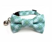 Cat Bow Tie Collar, TINY PLAID in BLUE, Cat Collar BowTie, Handmade