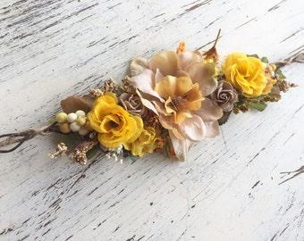 Fall flower crown- Flower Tie back halo- Flower crown- Well Dressed Wolf Crown- Dollcake Crown- Headband- Tie Back Headband- Flower Girl Hea