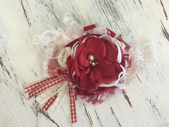 Baby Girl Headband, Well Dressed Wolf- Baby Headband-Flower Girl Headband, DollCake Headband, Red Plaid-Lace Headband, Boho Headband