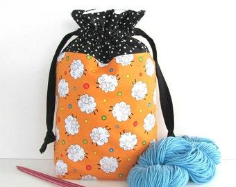 Knitting Bag, Crocheting Project Bag, Drawstring Knitting Tote Bag, Yarn Storage Bag - Bouncing Sheep Baby Gift Bag
