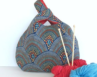 Knitting Tote Bag, Large Knitting Project Bag Japanese Knot Bag Navy Coral Abstract