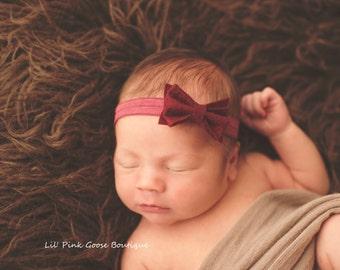 CRANBERRY BOW HEADBAND, Newborn Headband, Bow Headbands, Small Bows, Baby Headband, Cranberry baby Headband,  Cranberry Headbands