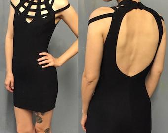 Strappy Black Bodycon Party Dress Size 4