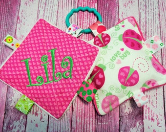 Baby Girl Toys, crinkle toy set, personalized,  Love Bug, Hearts, teething toys, crinkle sounds that babies and moms love.