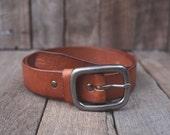 Tan Leather Belt Simple Unisex Vintage Style