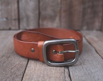 Tan Leather Belt Simple Unisex Vintage Style