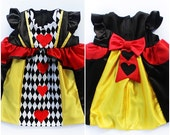 Baby Girls Queen of Hearts Costume Dress Handmade Unique - Ready to Ship - Sz 6 to 12 months