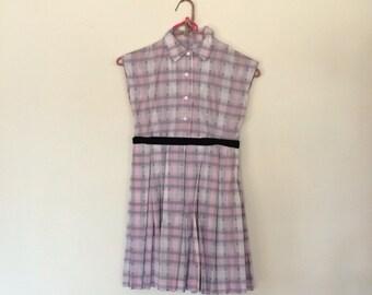 Vintage pink white plaid girls dress size small medium