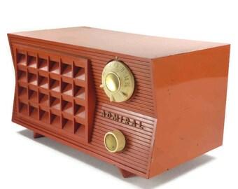 Admiral 5R35N Coral Red AM Radio Vintage Works