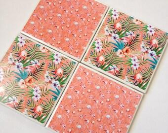 Set of 4 // Flamingo Coasters // Tile Coasters / Ceramic Coasters / Ceramic Tile Coasters / Drink Coasters / Tropical Coasters / Coaster Set