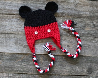 Baby Mickey Mouse Hat with Braided Tassels, 0-6 Months, Photo Prop, Gift