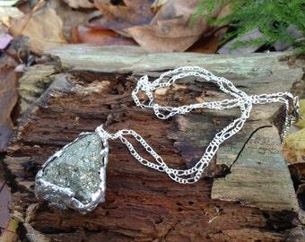 Pyrite Necklace // fool's gold necklace //druzy necklace / raw crystal necklace / galaxy necklace /rough stone boho bohemian necklace /