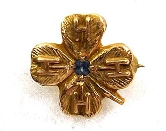 4H Lapel Pin 10K Gold with Blue Sapphire