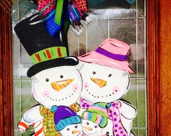 snowman family door hanger winter door hanger personalized