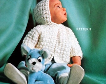 Knit Sweater Pattern, Baby Toddler Sweater, Hooded Cardigan Knitting Pattern