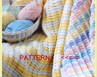 Waffle Crochet Baby Blanket Pattern, Crib Blanket, Nursery Afghan Pattern