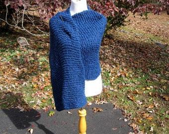 Handmade Wrap, Knit Prayer Shawl Dark Cobalt Blue Colonial with a Pocket or not