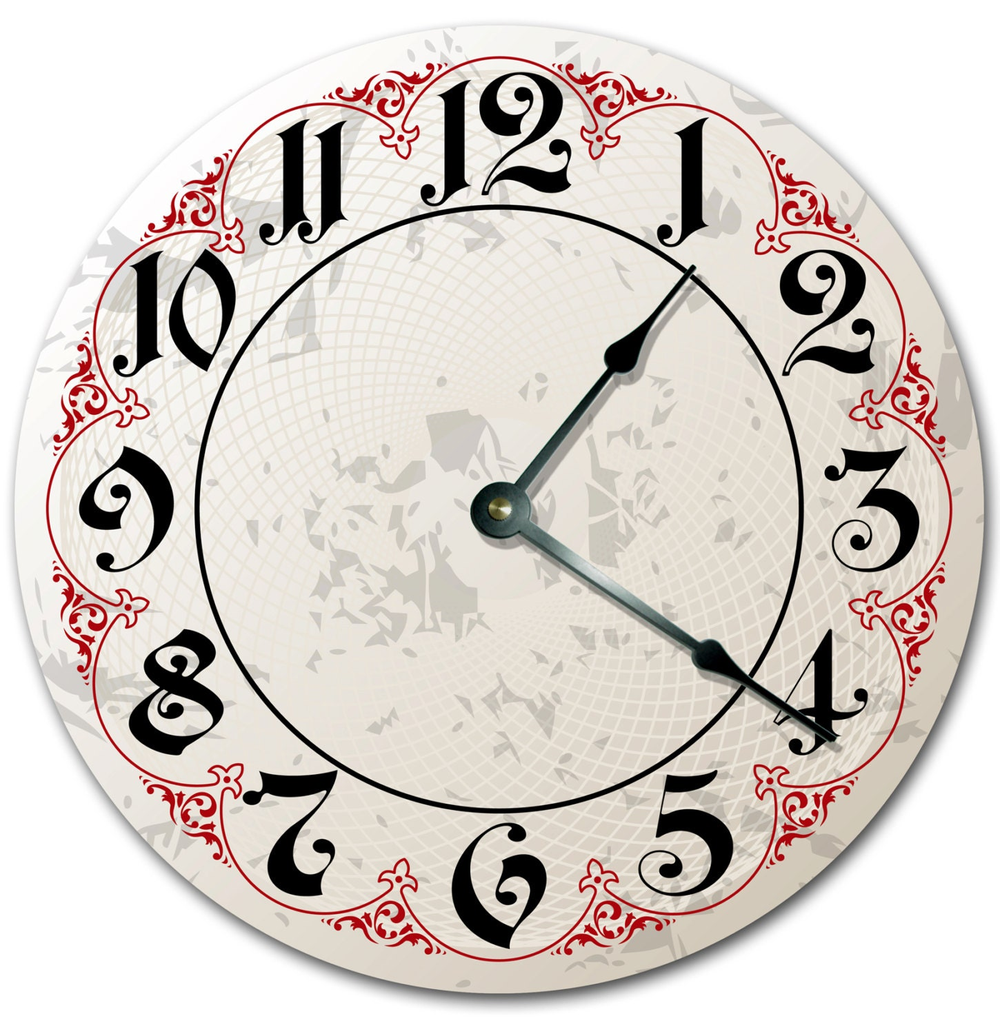 RED OUTLINE FANCY Numbers Clock Large 10.5 inch Clock Novelty