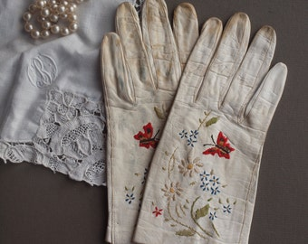 Vintage embroidered leather gloves butterfly flower embroidery shabby chic condition vanity decor costume / dress up  4 child or small hands