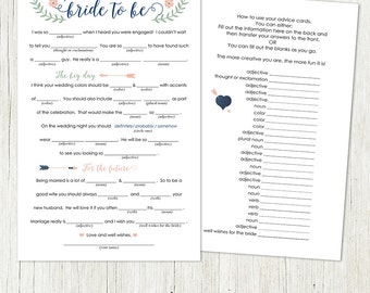 Bridal Shower Mad Libs Advice - Printable Design - Instant Download - Wedding Fun - Bridal shower fun - Wedding advice for the bride