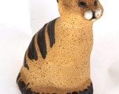 Handmade Pottery Ceramic Cat Kitten Kitty Figurine Feline Collectible Signed Studio Stoneware